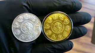Mexican 1oz Silver Libertad .999 Plata Pura Plated with 24K Gold