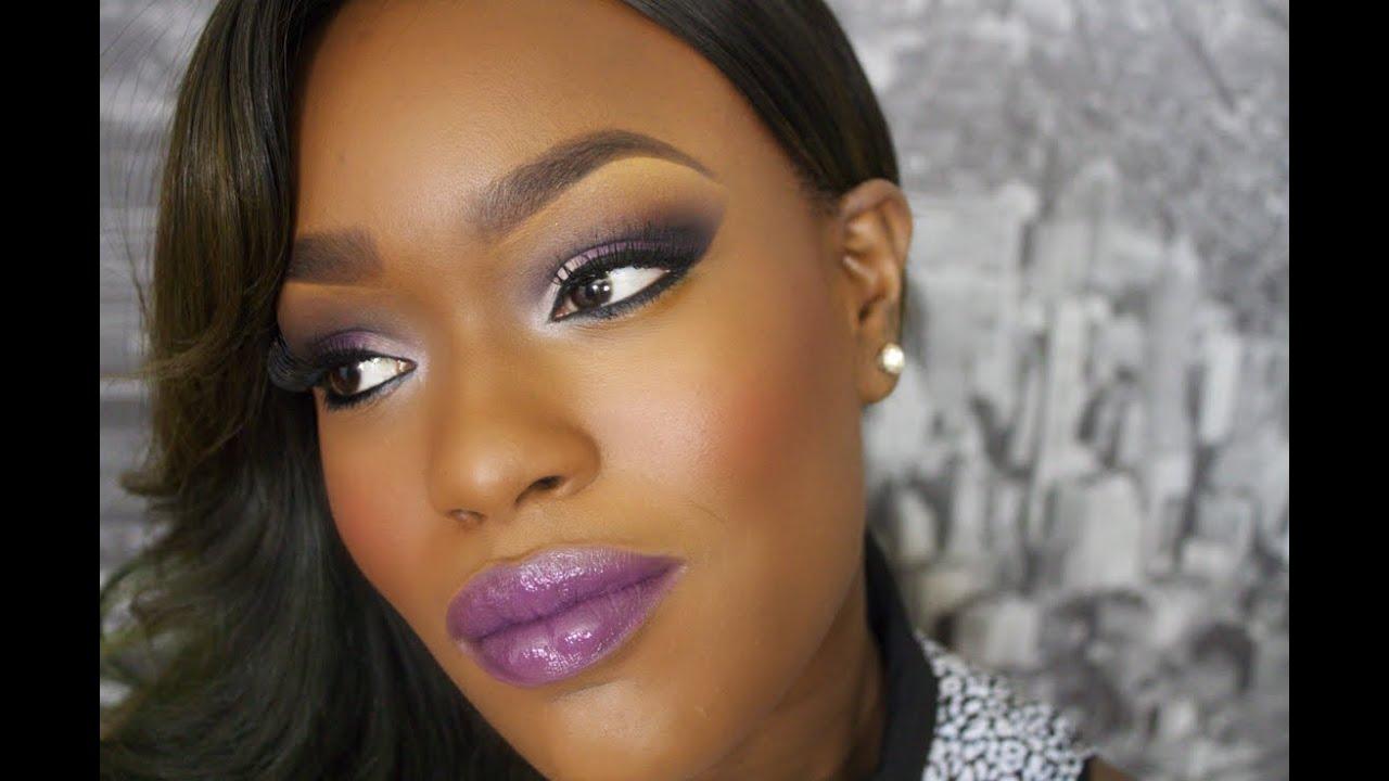 Fall Makeup Purple Lips PURPLE EYESHADOW - YouTube