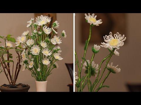 French beaded flowers - wild daisy- Featured in Bead & Jewellery magazine... Bead Flora Studio