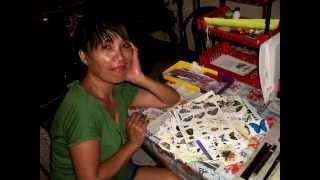 Myra making Cards - it