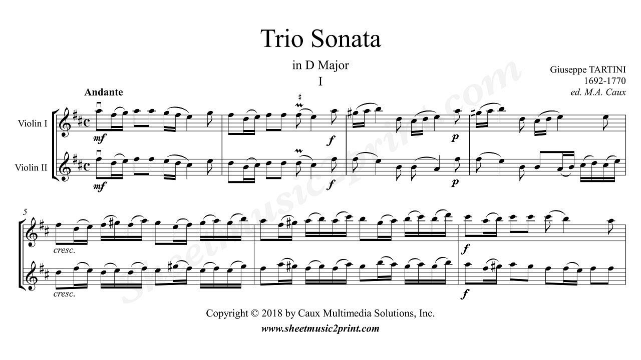 Trio Sonata D Major - Score