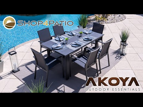 Juno 7 Piece Outdoor Dining Table Set in Charcoal