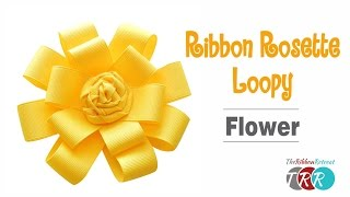 Learn how to make this cute Ribbon Rosette Loopy Flower! Don't forg...