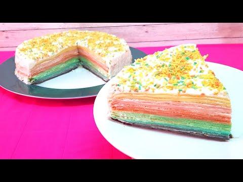 Tarta Arcoíris Sin Horno | Rainbow Cake | Tarta de Crepes