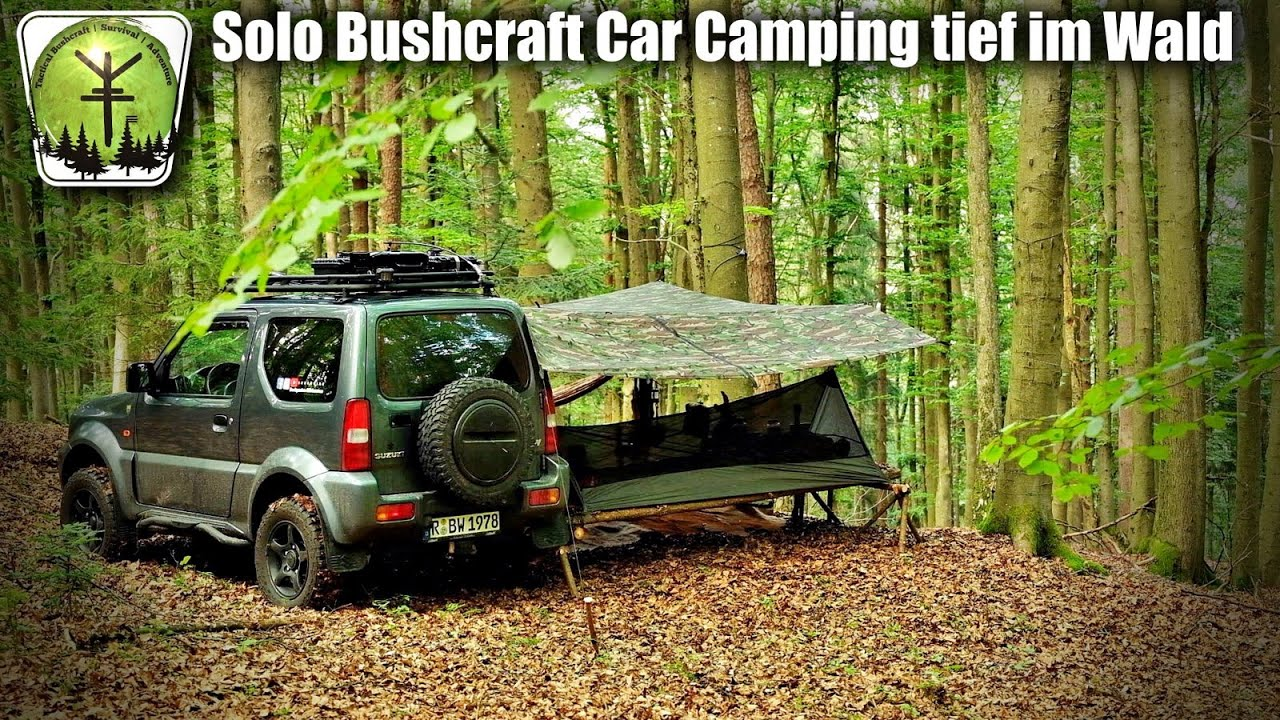 Solo Bushcraft Car Camping tief im Wald - Lagerfeuer - Camp - Overnight - Feel the Natur -