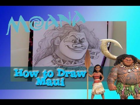 How to draw MAUI from Disney's MOANA - @dramaticparrot