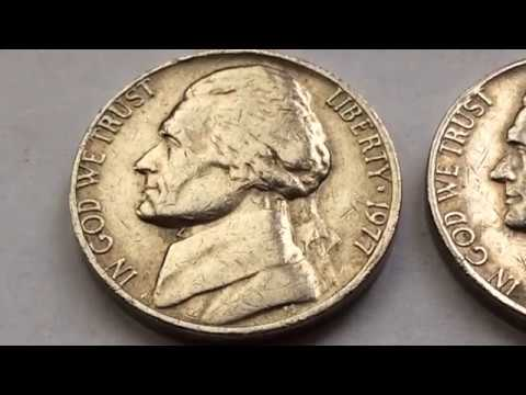 Rare 1977 Error Jefferson Nickel US Coins Collection Valuable Five Cents Centavo Coins Macro Video