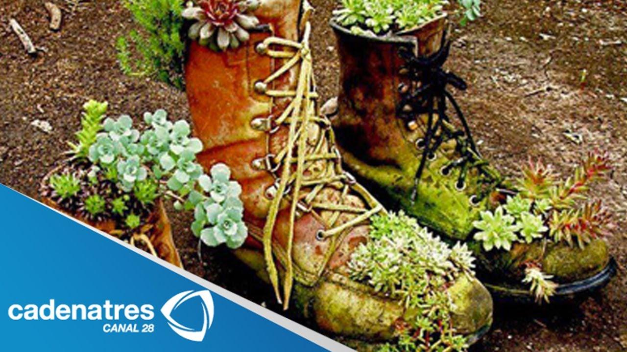 Elaboran macetas con zapatos viejos en guanajuato youtube - Macetas originales para plantas ...