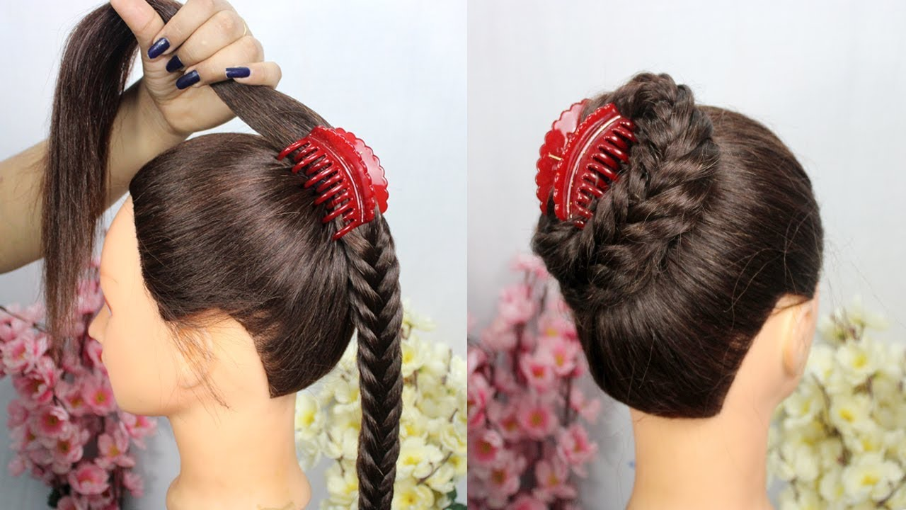 New easy juda hairstyle using clutcher    juda hairstyle with trick    easy hiarstyle ...