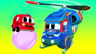 Truck videos for kids -  APRIL FOOL : Super HELICOPTER saves the day - Super Truck in Car City !