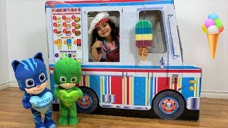 Sally Pretend Play selling Ice Cream from Ice cream truck with Disney PJ MASKS
