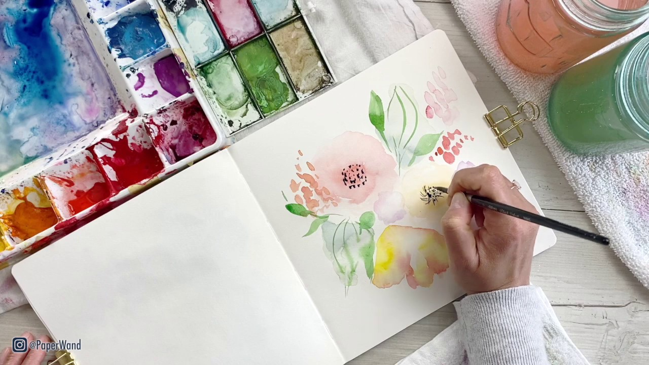 Loose Florals in Watercolor and Ink