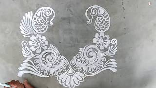 DOOR ALPONA DESIGNS/HOW TO DRAW DOOR ALPONA/DOOR RANGOLI DESIGNS/KOLAM WITH BRUSH/MUGGULU