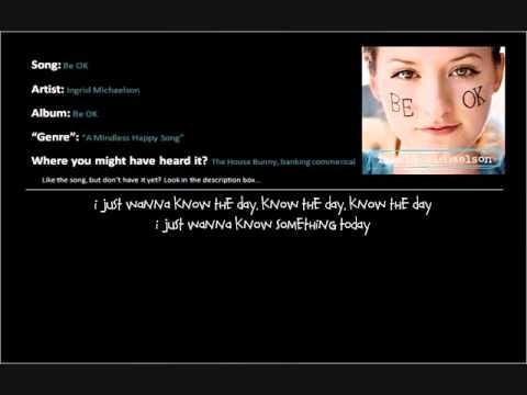 Be OK - Ingrid Michaelson - Lyrics & Download