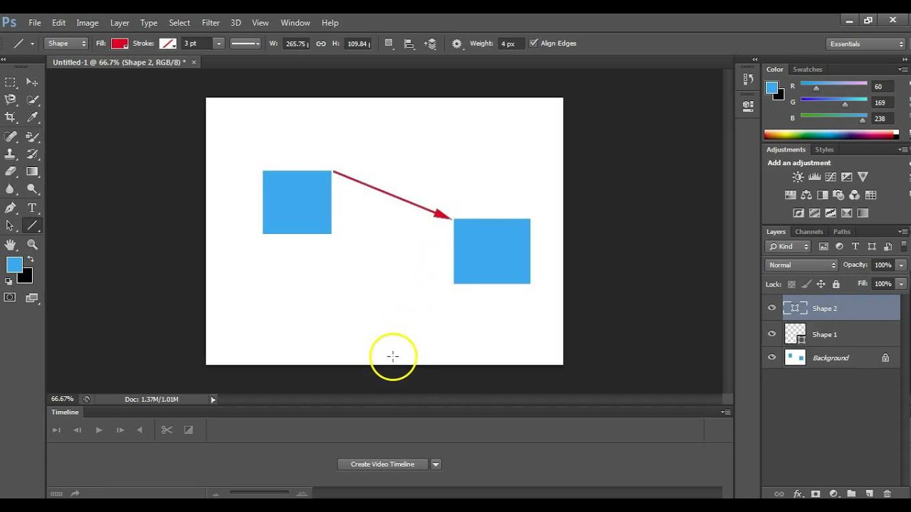 Drawing Lines With Photo Cs : How to draw arrow in photoshop youtube