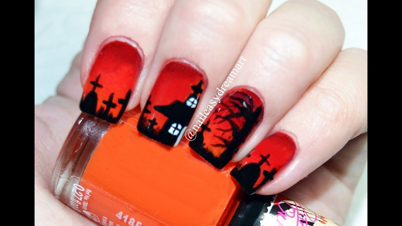 Halloween Nail Art Tutorial Diy Halloween Nails Youtube