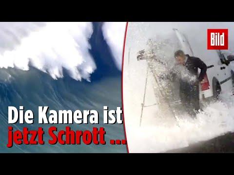 Riesenwelle erwischt TV-Reporter vor Küste Nordkaliforniens