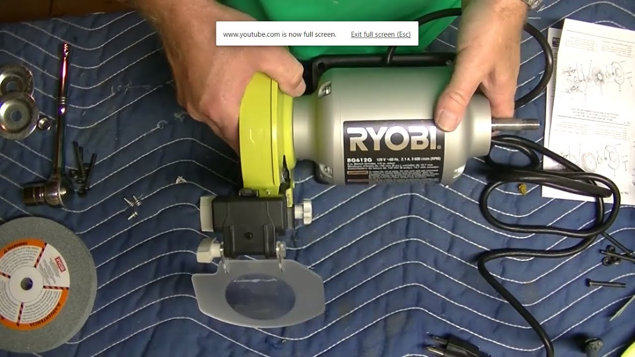 Ryobi Bench Grinder Polishing Wheel Assembly Youtube