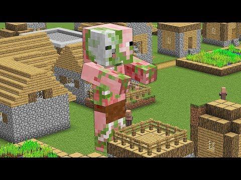 ОГРОМНЫЙ СВИНОЗОМБИ НАПАЛ НА ДЕРЕВНЮ ЖИТЕЛЕЙ В Майнкрафте! Minecraft Мультики Майнкрафт троллинг Нуб