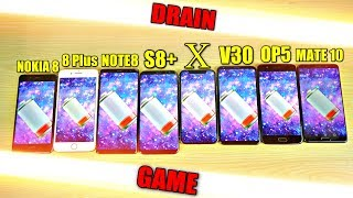 iPhone X vs Note 8 vs S8+ vs Nokia 8 vs LG V30 vs OnePlus 5 vs 8 Plus vs Mate 10 Battery Drain Test!