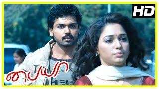 Karthi New Movie 2017 | Karthi helps Tamanna hide | Paiya Tamil Movie Scenes | Tamannah