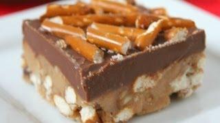 No Bake Peanut Butter Pretzel Bars - Six Sisters' Stuff - Dessert