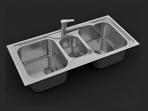 3ds max tutorial, modeling kitchen sink - YouTube