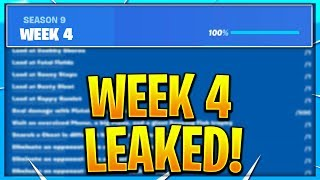 FORTNITE SEASON 9 WEEK 4 CHALLENGES LEAKED! WEEK 4 ALL CHALLENGES EASY GUIDE! SEASON 9 CHALLENGES