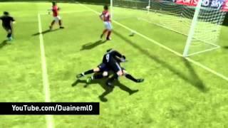 Andy Carroll and Lukasz Fabianski kiss on FIFA 12