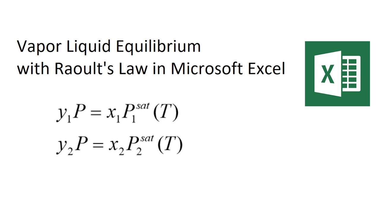 raoult's law vapor liquid equilibrium solved with excel