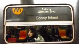 BMT Broadway line: Astoria bound R68 (N) Train at Times Square-42 Street