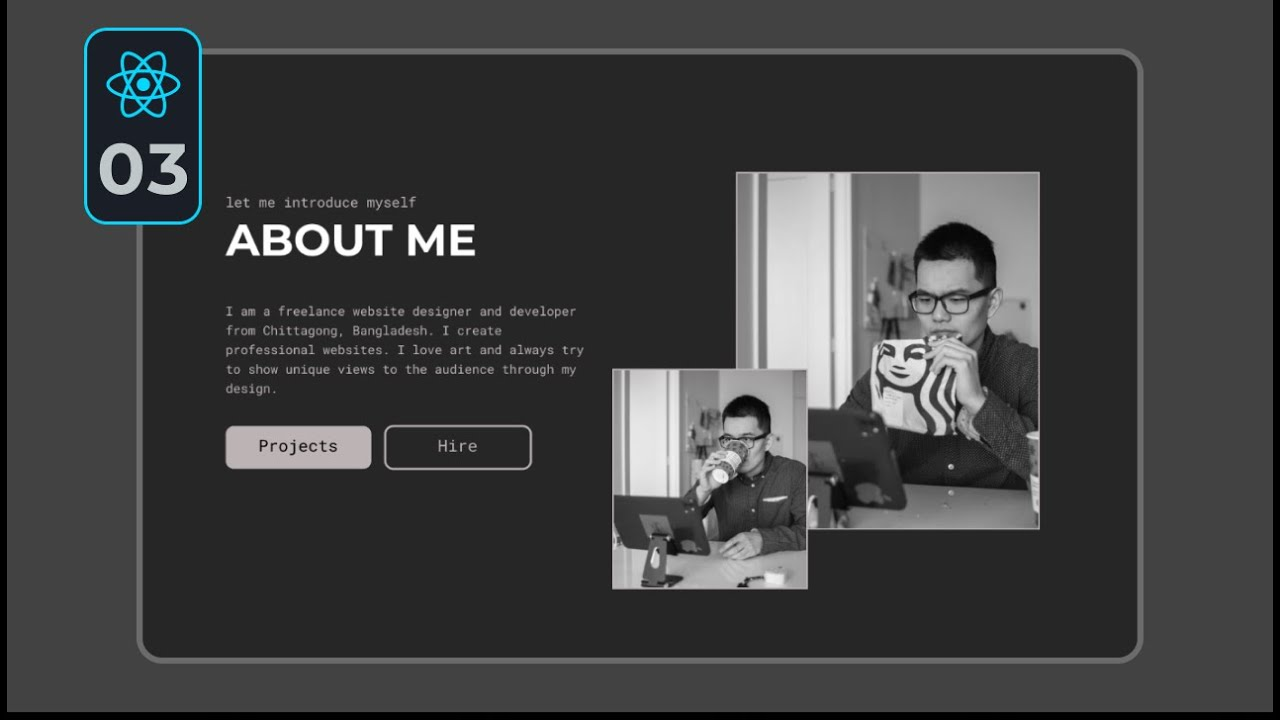 Complete React Portfolio Website Project | Home (About Section) #03