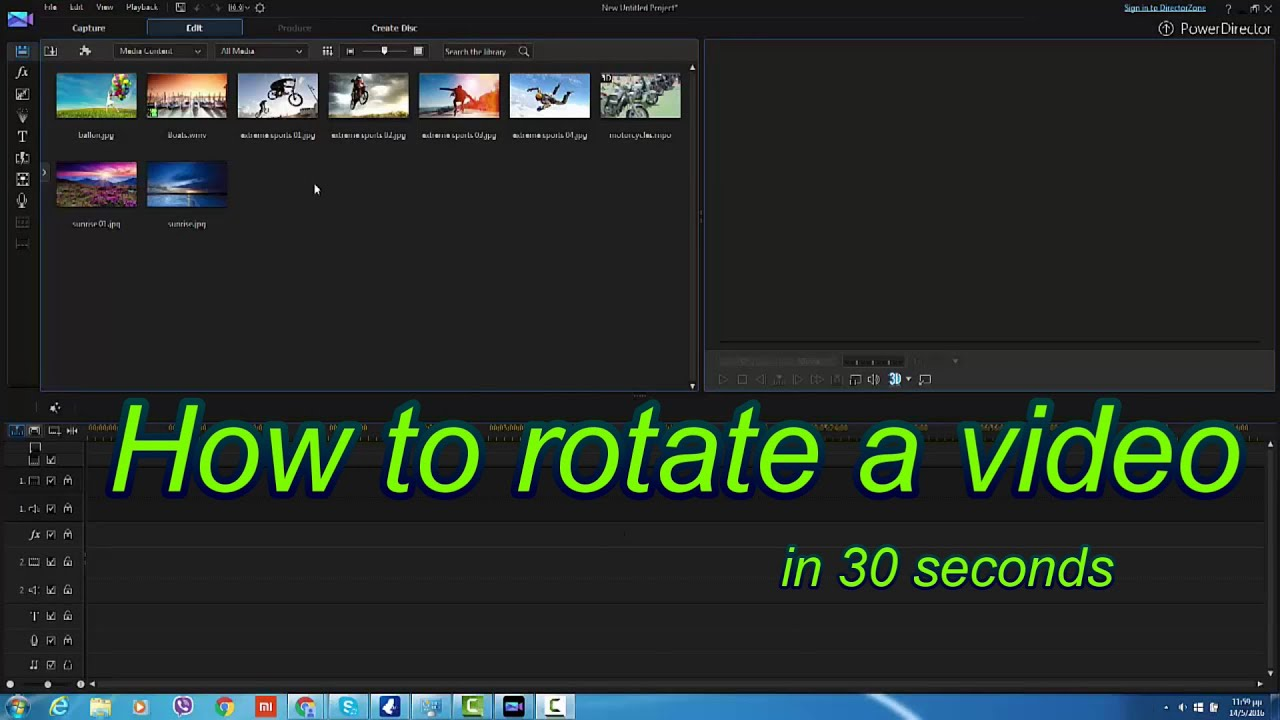 How to rotate your video in 30 sec powerdirector 12 13 14 youtube how to rotate your video in 30 sec powerdirector 12 13 14 ccuart Images