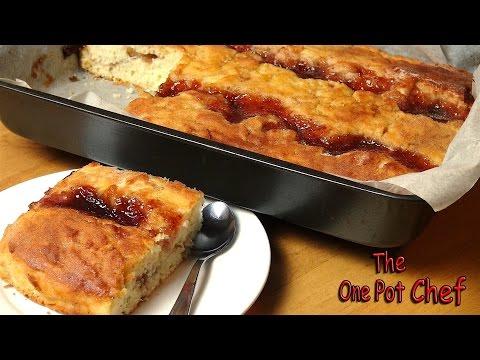 Jam Donut Tray Bake | One Pot Chef