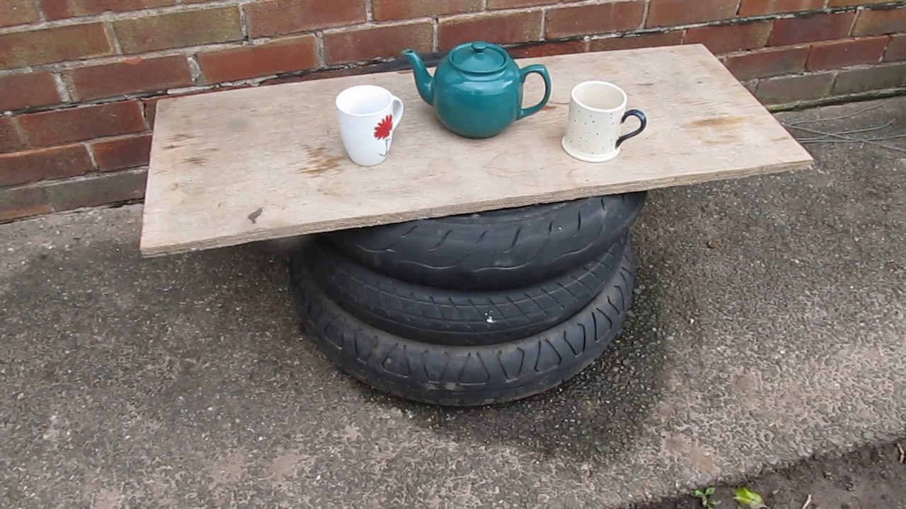 Uses for old Motorcycle Tyres Number 2 A Handy Tea or Coffee Table