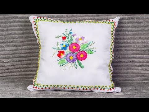 Cojín Bordado a Mano  Sorteo Internacional - Especial 100k  Hand Embroidery Tutorial Artesd'Olga