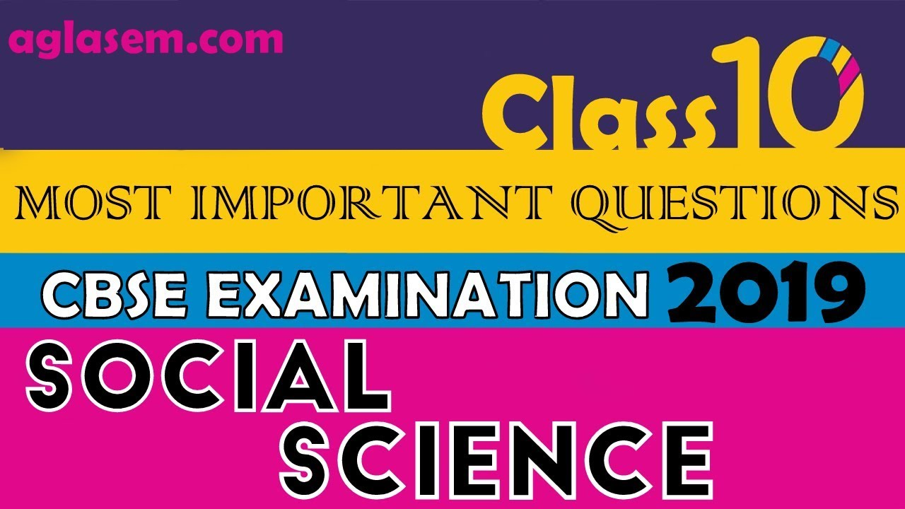 CBSE Class 10 Social Science Important Questions with