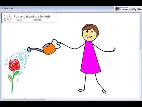 Dibujo Animado De Niña Regando Flores Con Canción Infantíl