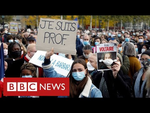 Thousands join rallies across France in show of outrage at teacher's beheading - BBC News