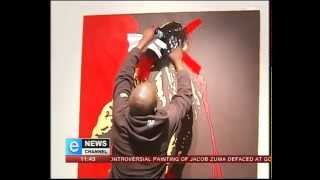 Exclusive - Two Men Caught Defacing Controversial Zuma Painting