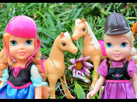 Anna and Elsa Toddlers Pony Horses Riding Trail Barbie Stable! Kids Toys and Dolls Adventures Family