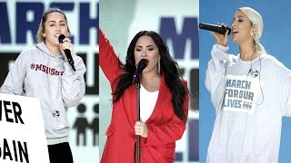Ariana Grande, Demi Lovato & Miley Cyrus - Performing at March for our Lives