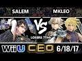 CEO 2017 Smash 4 - MVG   Salem (Bayonetta) vs FOX MVG   MKLeo (Cloud, Corrin) WiiU Loser's Sevenths