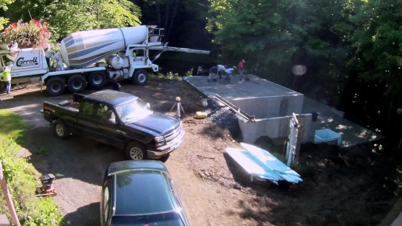 Concrete slab floor pour 16 my garage build hd time for Building a detached garage on a slope