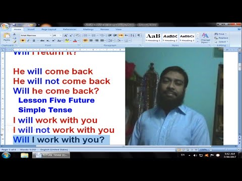 Lesson Five How to Make Question or Interrogative Sentence In Future Simple Tense In Urdu! Hindi