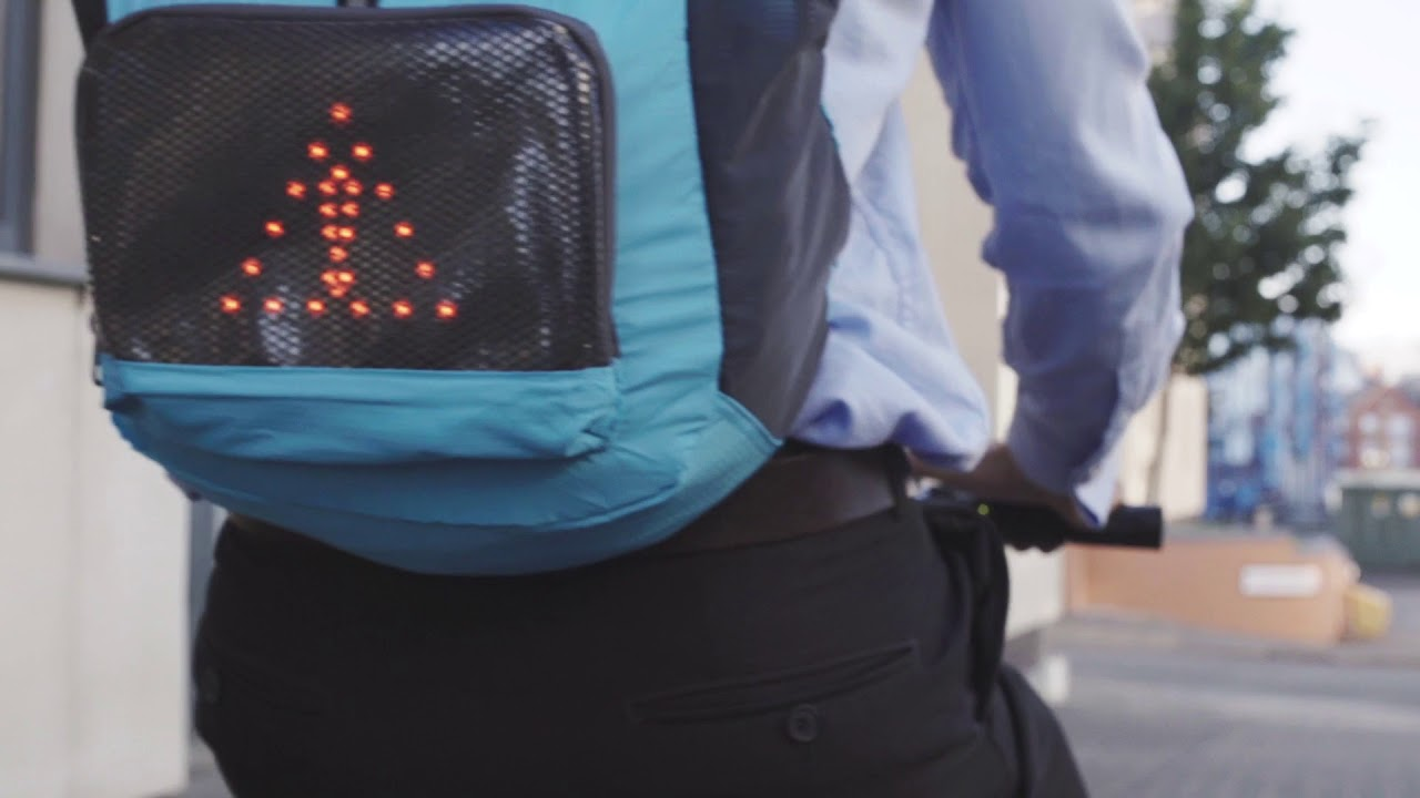 be3dc325bc eelo Cyglo LED Indicator Safety Backpack For Cyclists - YouTube