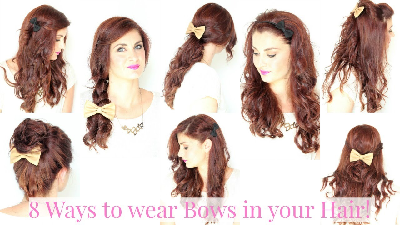 Cool Ways To Style Your Hair 8 Ways To Wear Hair Bows  Youtube
