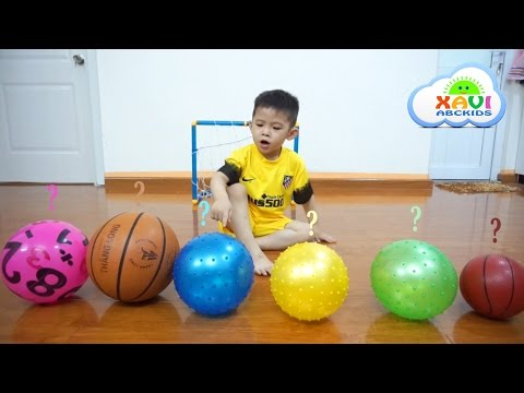 Thumbnail: Learn colors with soccer balls for kids - Colours for children, toddlers and babies with Xavi ABC