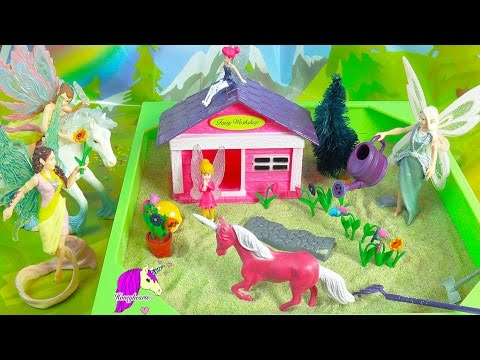 Schleich Fairies Hang Out At Fairy Garden My Little Sandbox Playset with Pink Unicorn