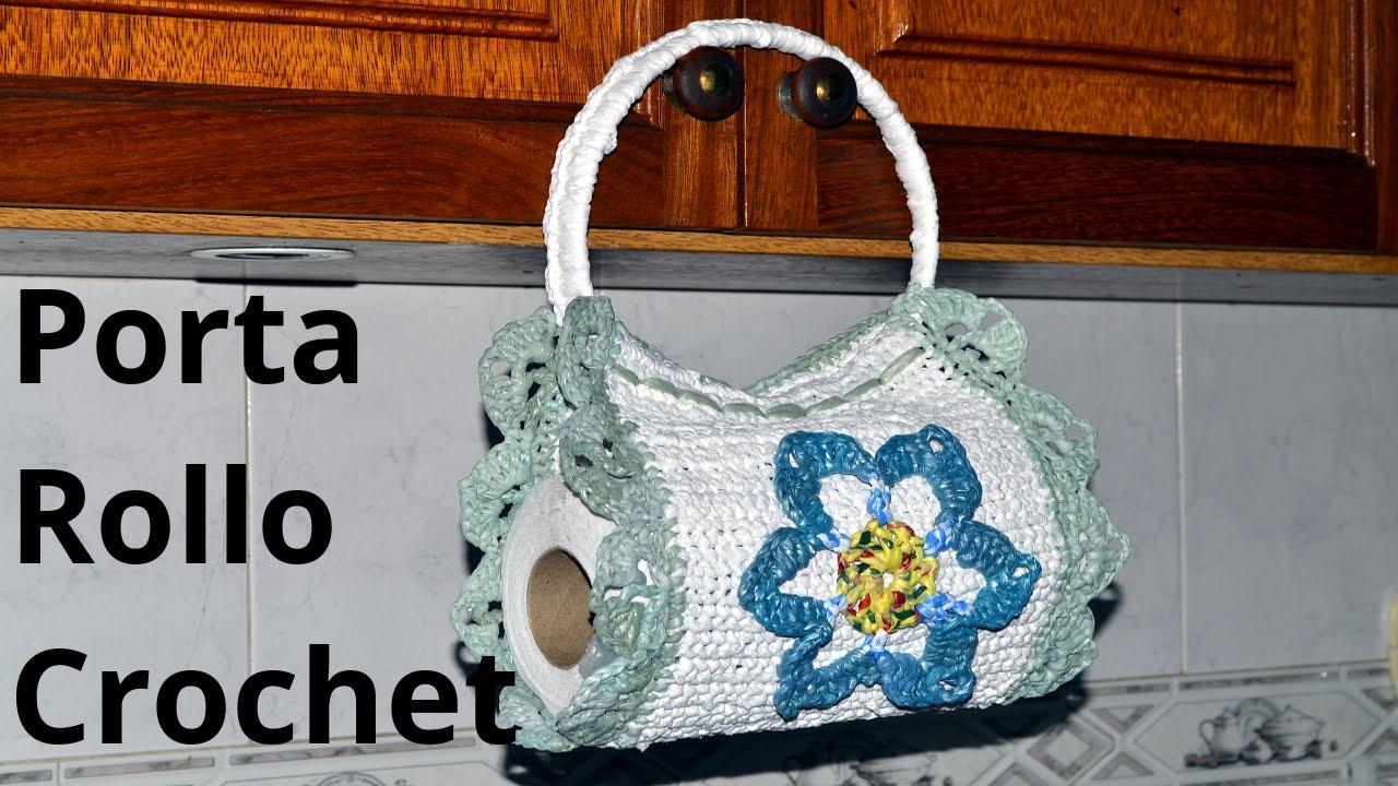 Como tejer un Porta Rollo Cocina en tejido crochet o ganchillo ...